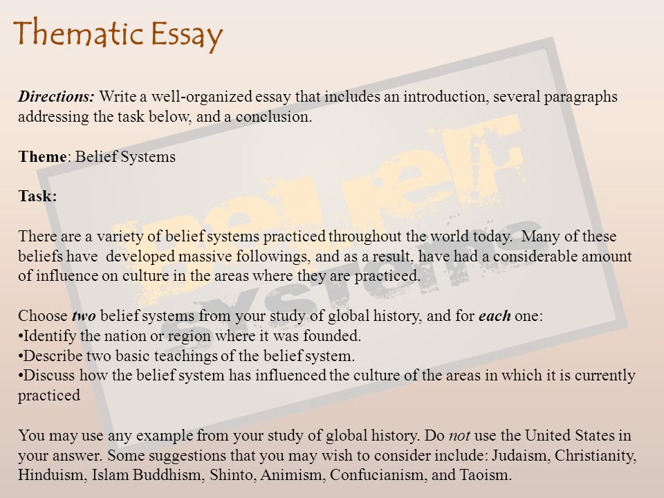 global history thematic essay belief systems
