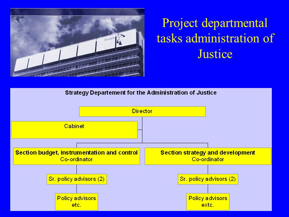 Project departmental tasks administration of Justice