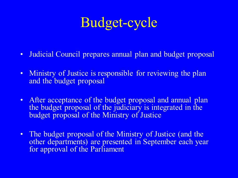 Budget-cycle Judicial Council prepares annual plan and budget proposal