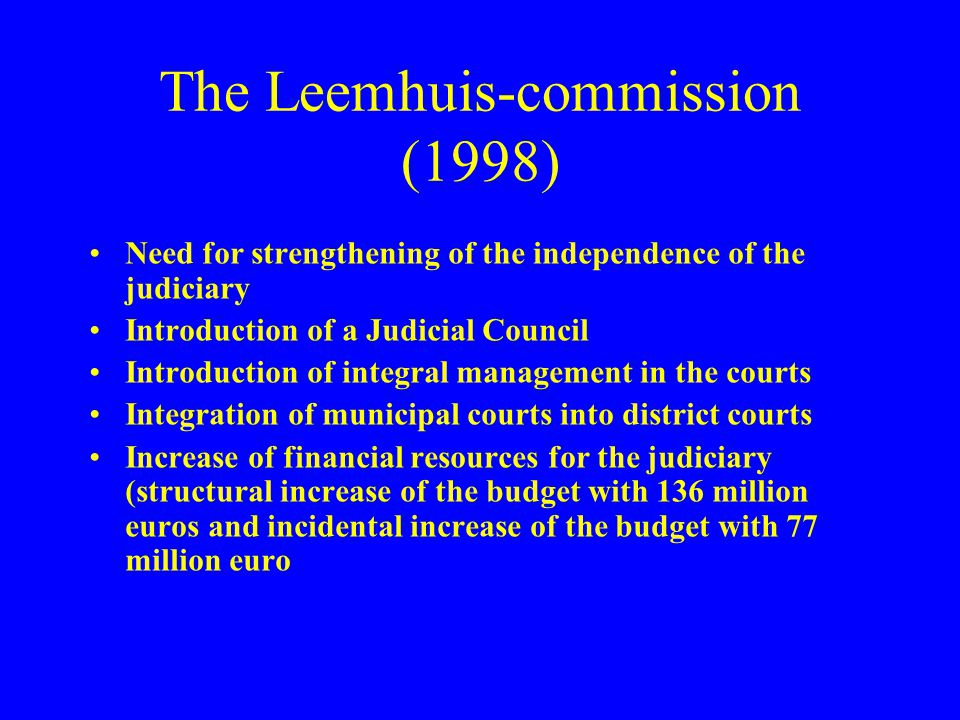 The Leemhuis-commission (1998)