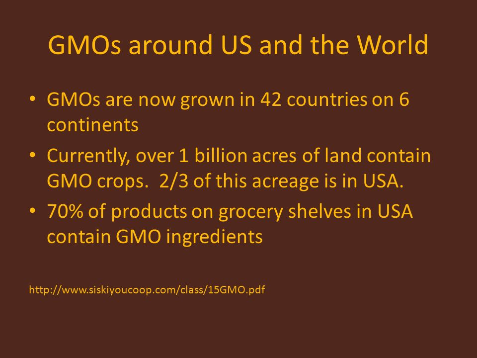 GMOs around US and the World