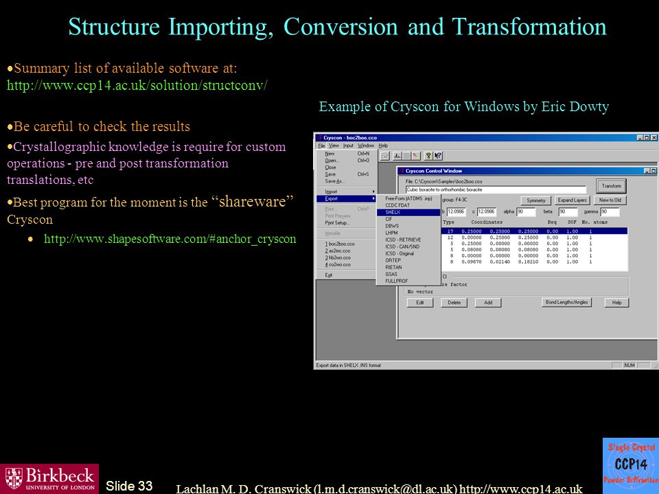 The CCP14 Project: software for X-ray diffraction analysts