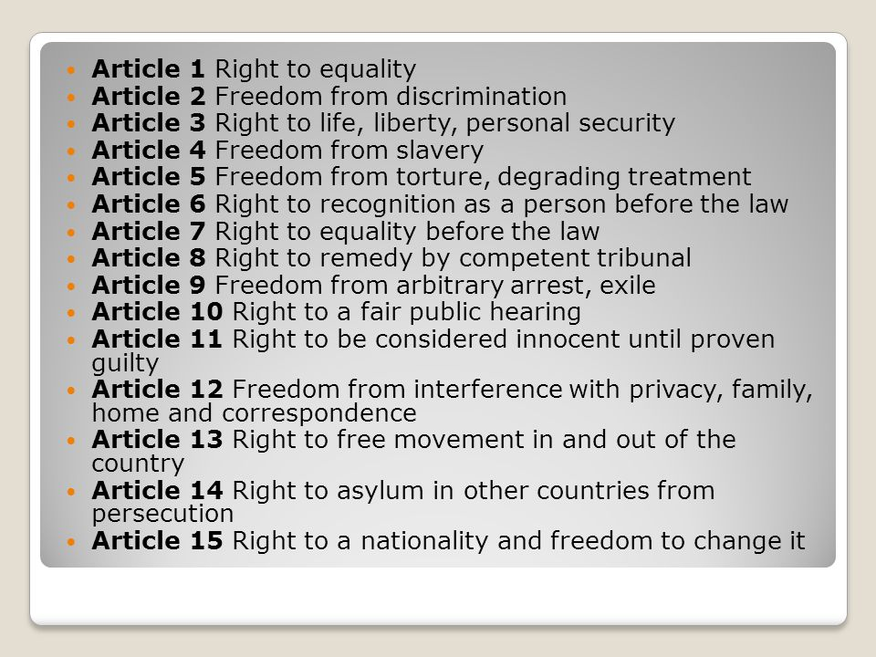 Article 1 Right to equality