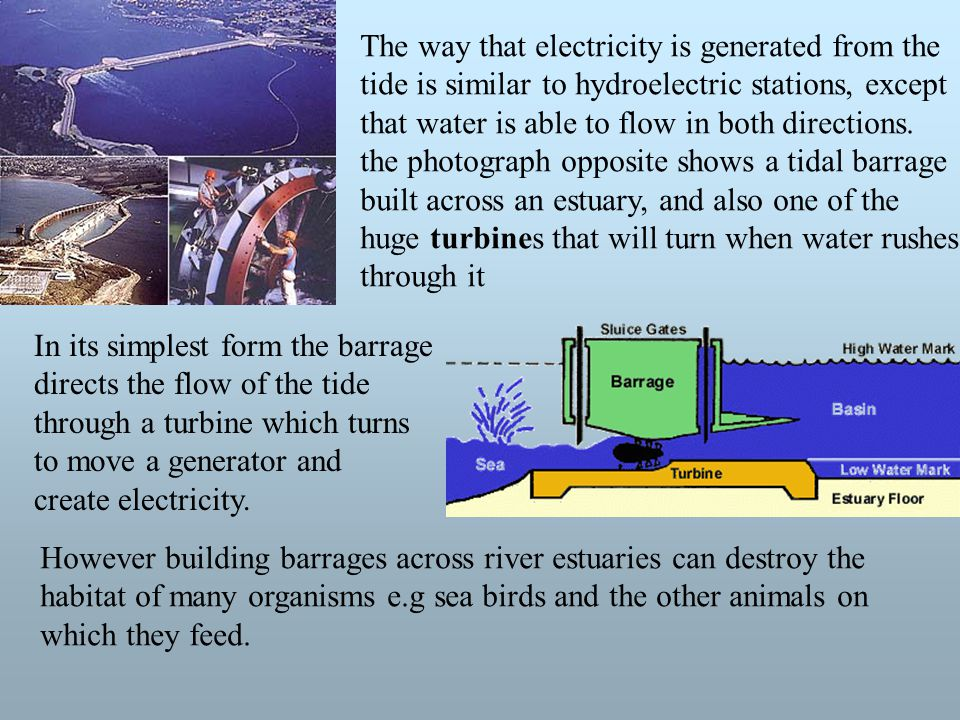 The way that electricity is generated from the