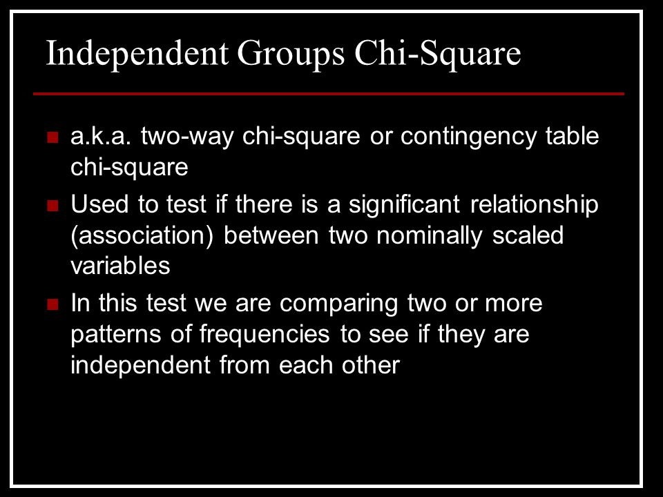 Independent Groups Chi-Square