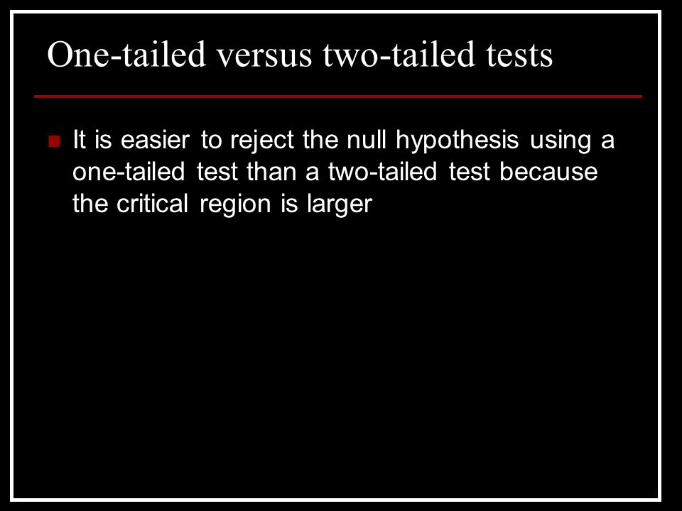 One-tailed versus two-tailed tests