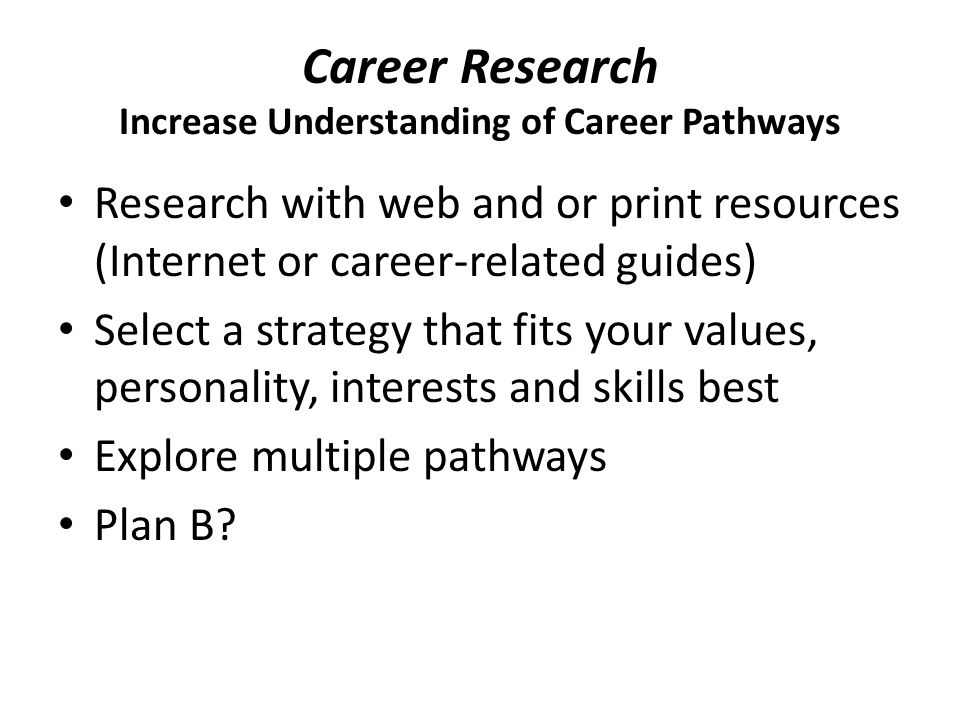 Career Research Increase Understanding of Career Pathways