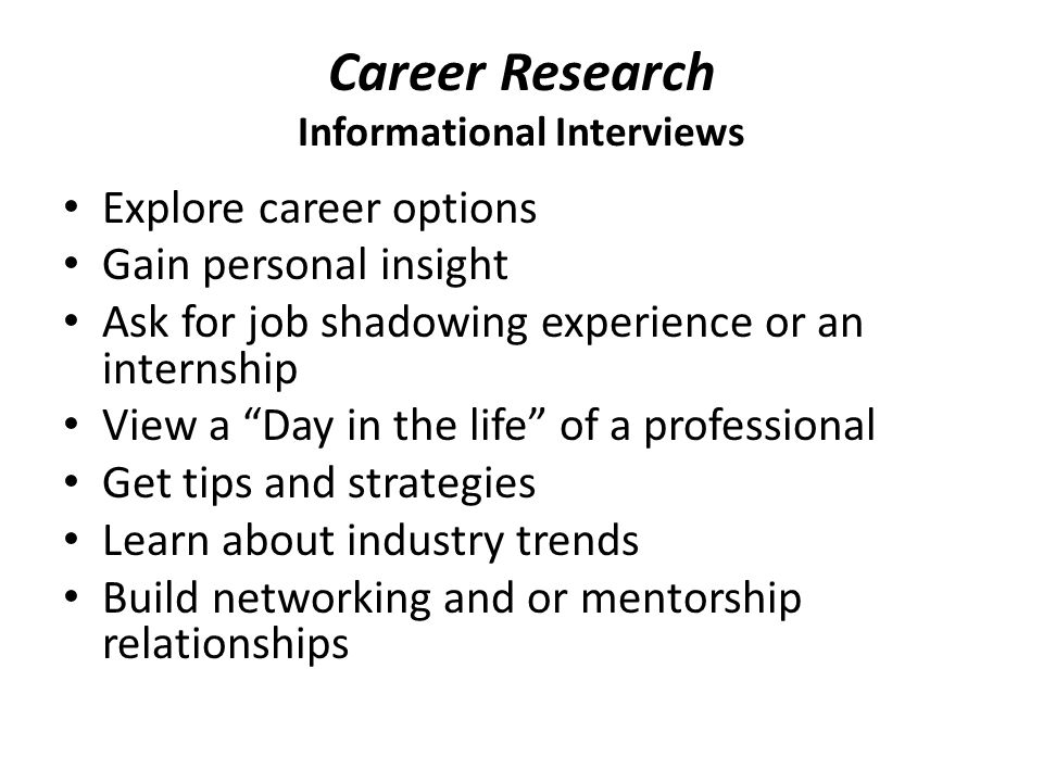Career Research Informational Interviews