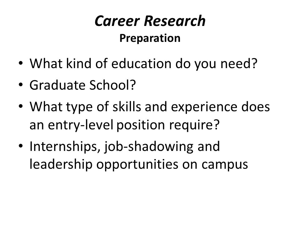 Career Research Preparation