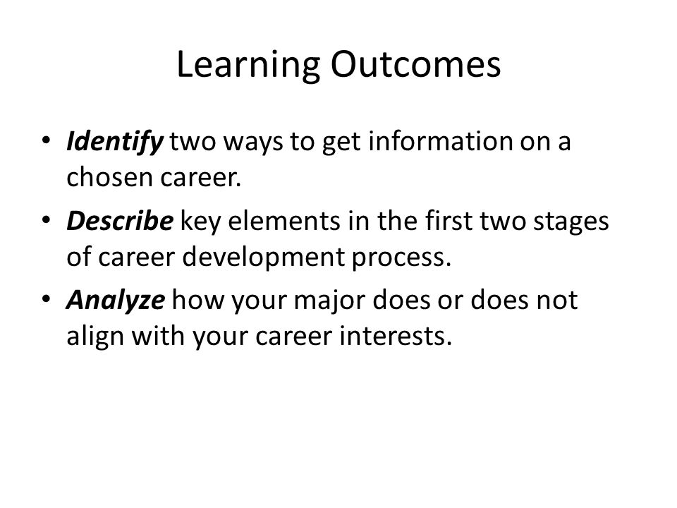 Learning Outcomes Identify two ways to get information on a chosen career.