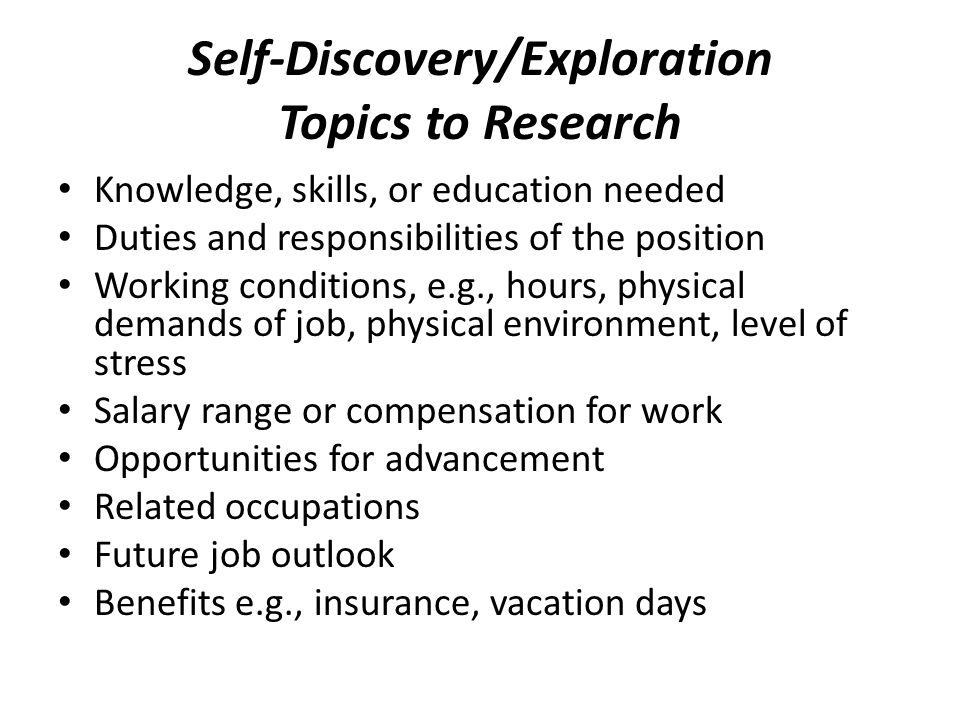 Self-Discovery/Exploration Topics to Research