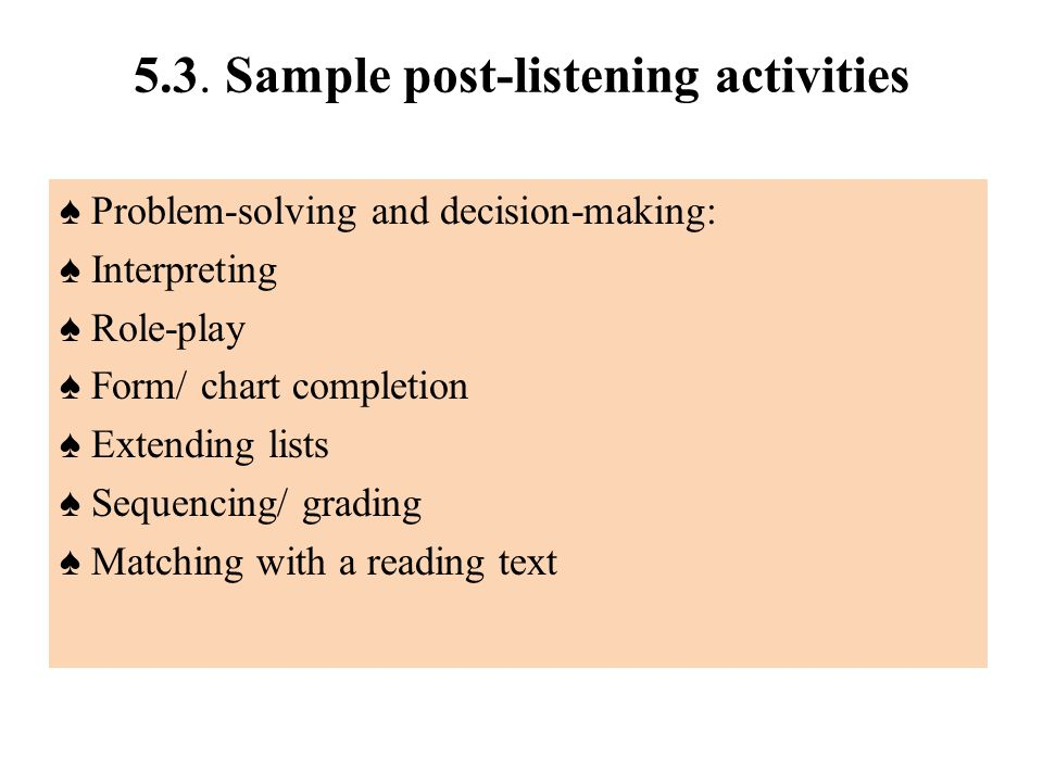 5.3. Sample post-listening activities