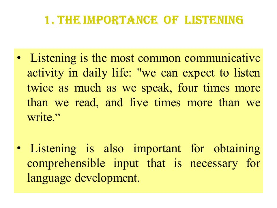 1. The Importance of Listening