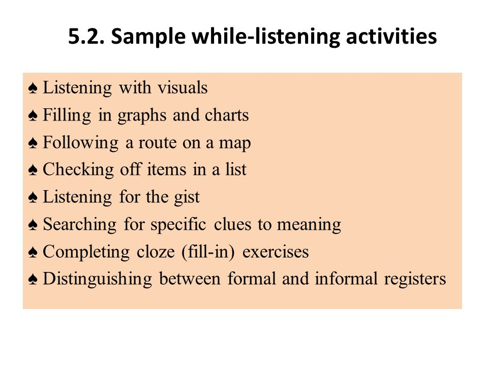 5.2. Sample while-listening activities