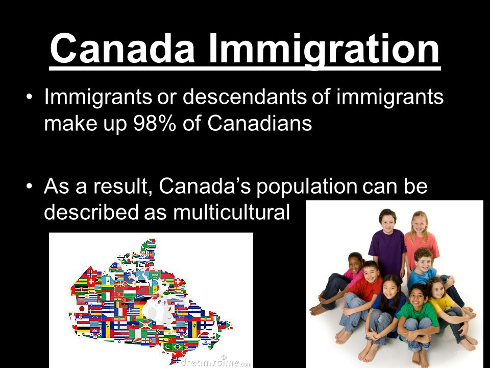 Canada Immigration Immigrants or descendants of immigrants make up 98% of Canadians.