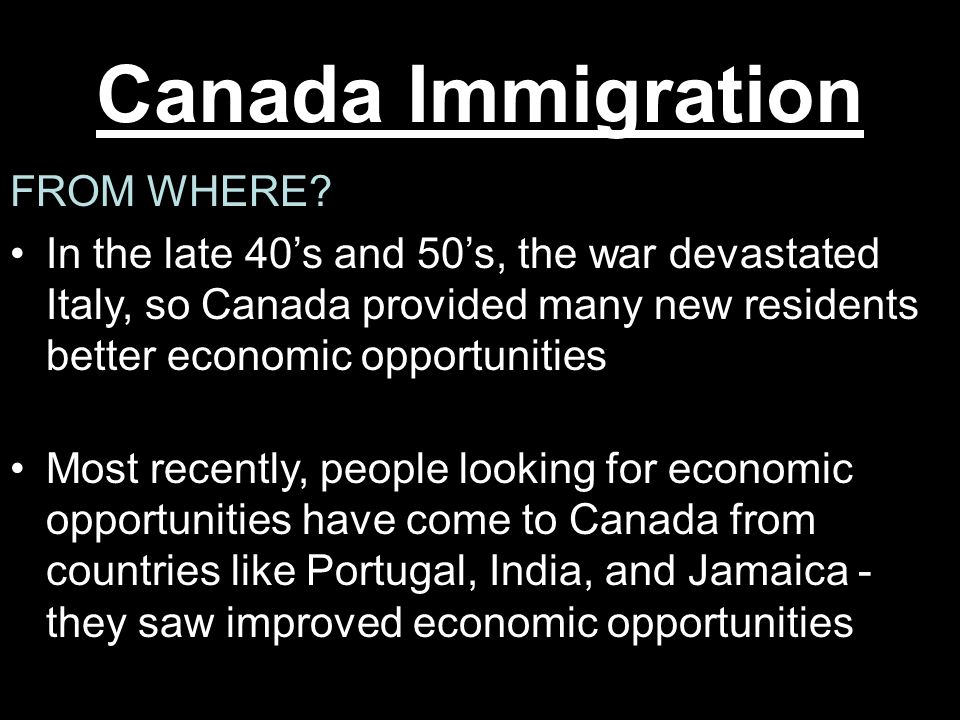 Canada Immigration FROM WHERE
