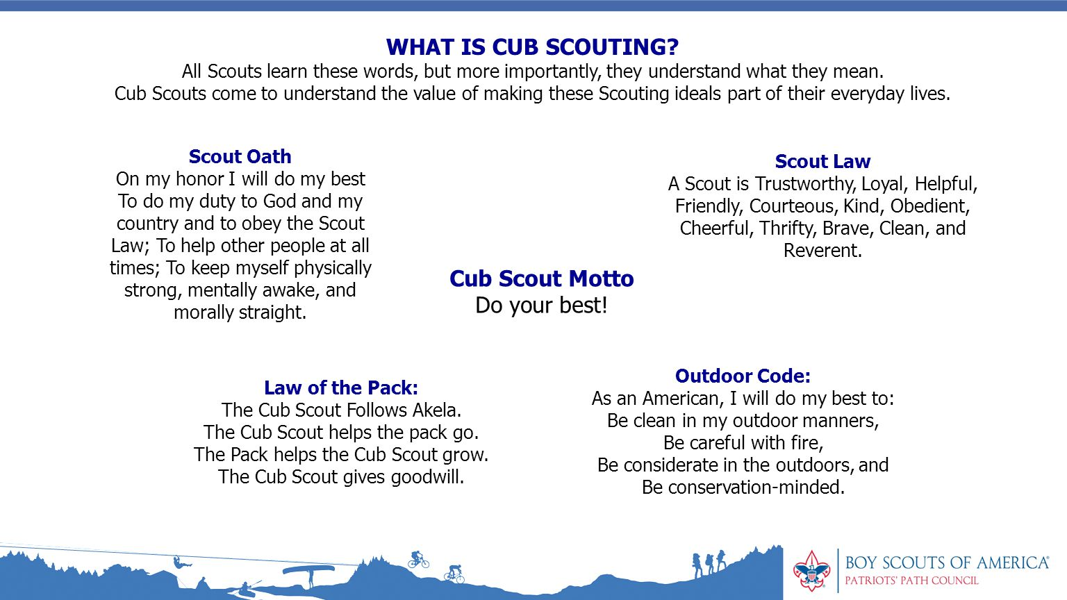 graphic regarding Cub Scout Oath and Law Printable named outside code bsa -