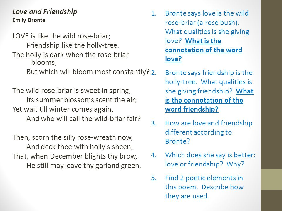 love and friendship by emily bronte analysis