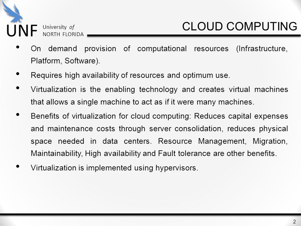 cloud computing On demand provision of computational resources (Infrastructure, Platform, Software).