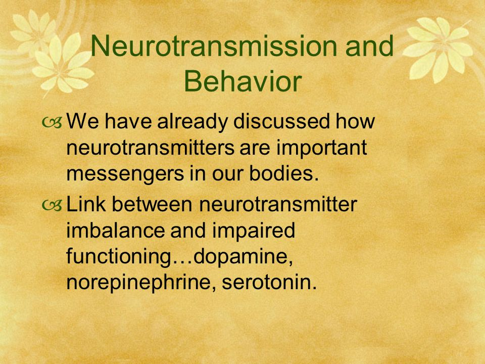 effect of neurotransmitters on human behavior