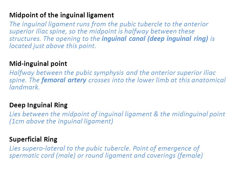 Midpoint of the inguinal ligament The inguinal ligament runs from the pubic tubercle to the anterior superior iliac spine, so the midpoint is halfway between these structures.