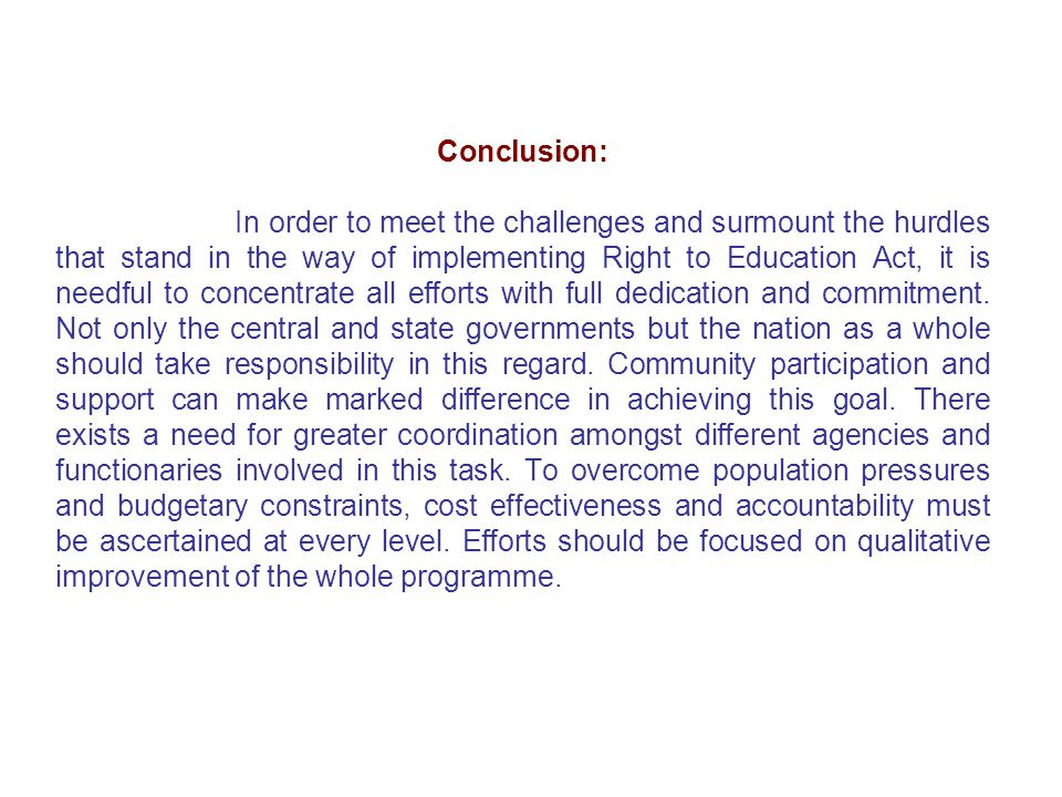conclusion of rte act 2009