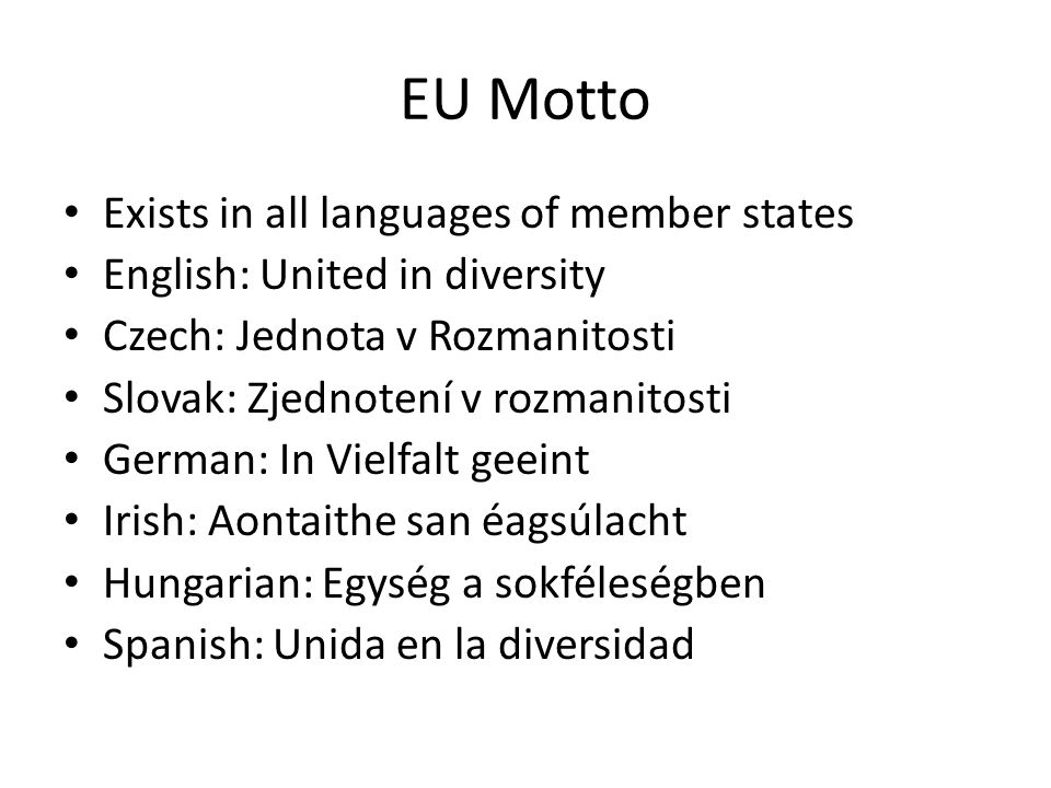 EU Motto Exists in all languages of member states