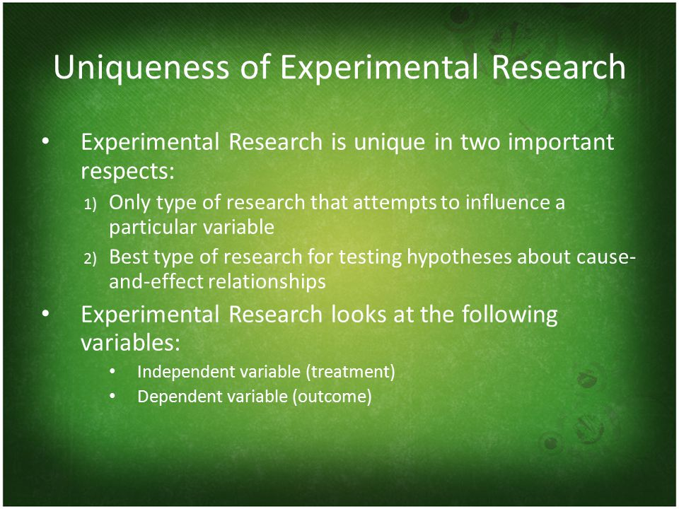 Uniqueness of Experimental Research