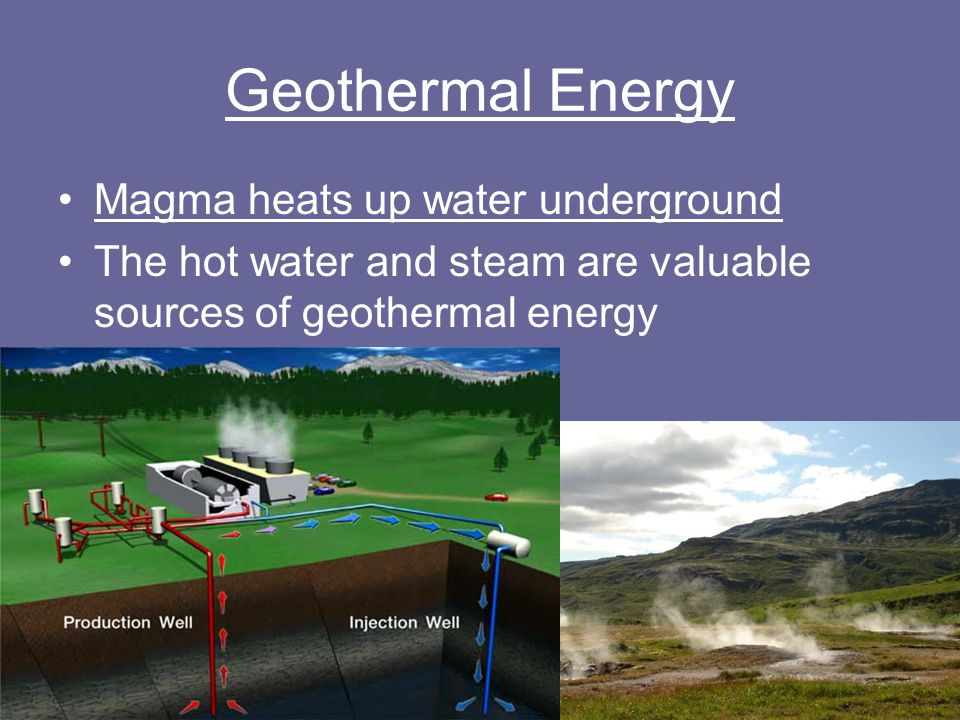 Geothermal Energy Magma heats up water underground