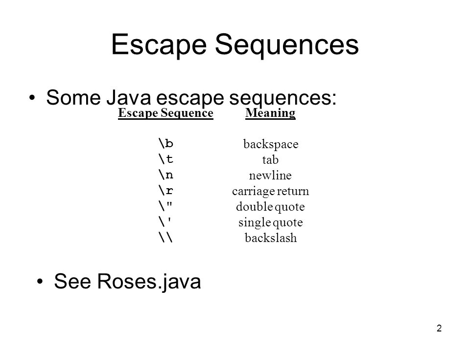 Escape Sequences Some Java escape sequences: See Roses.java