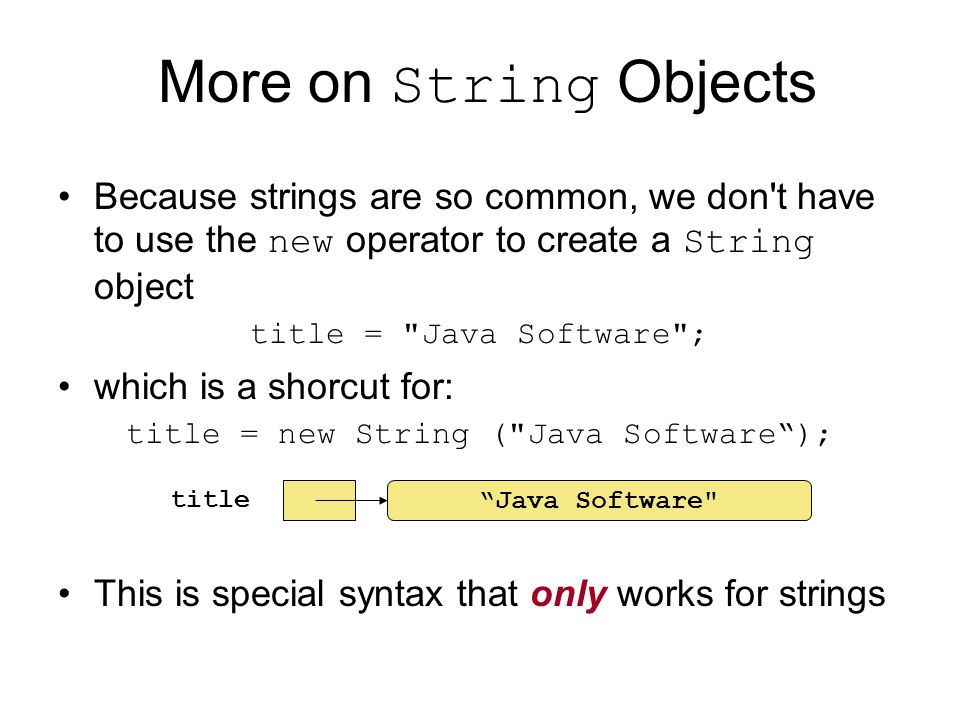 title = new String ( Java Software );