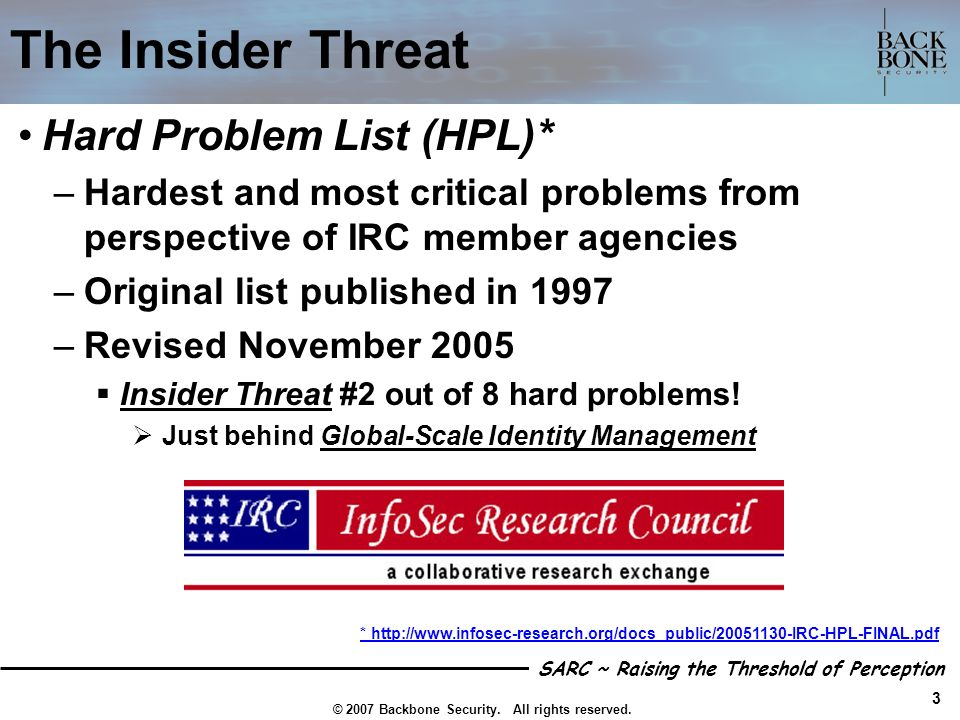 The Insider Threat Hard Problem List (HPL)*