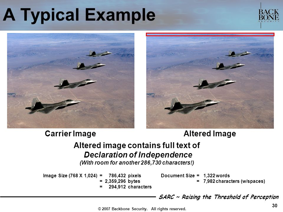 A Typical Example Carrier Image Altered Image
