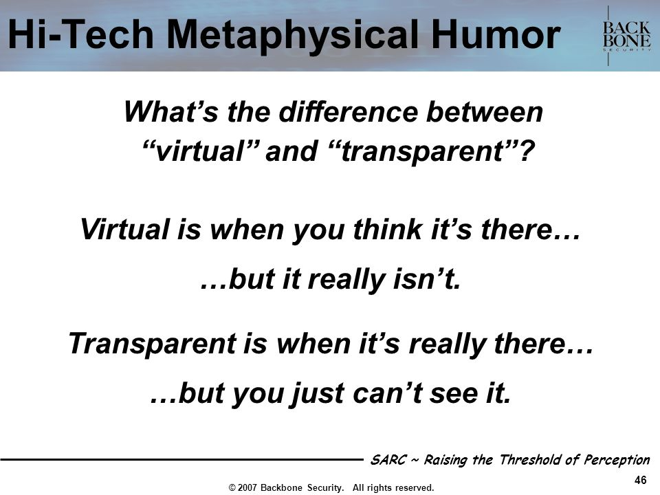 Hi-Tech Metaphysical Humor