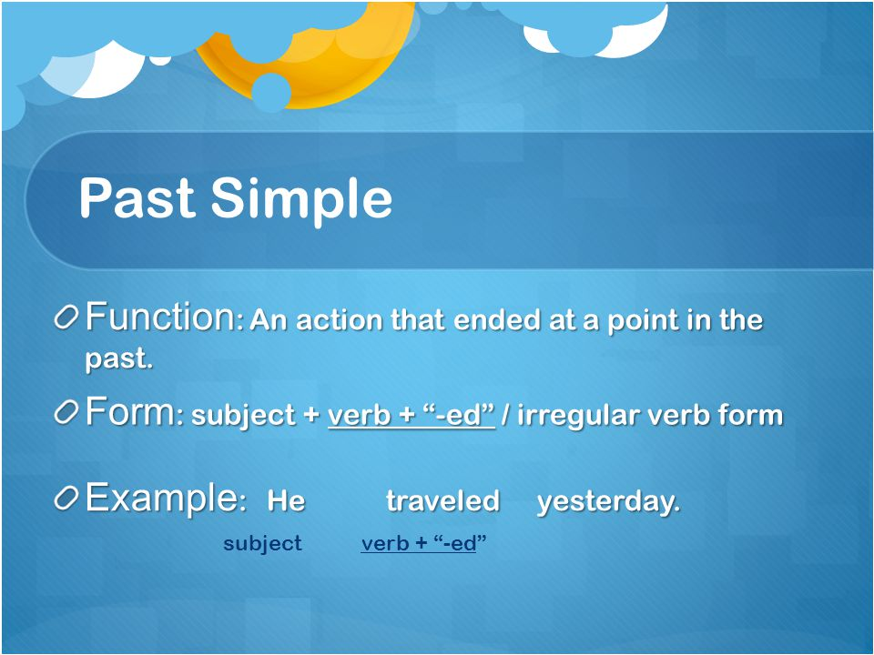 Past Simple Function: An action that ended at a point in the past.