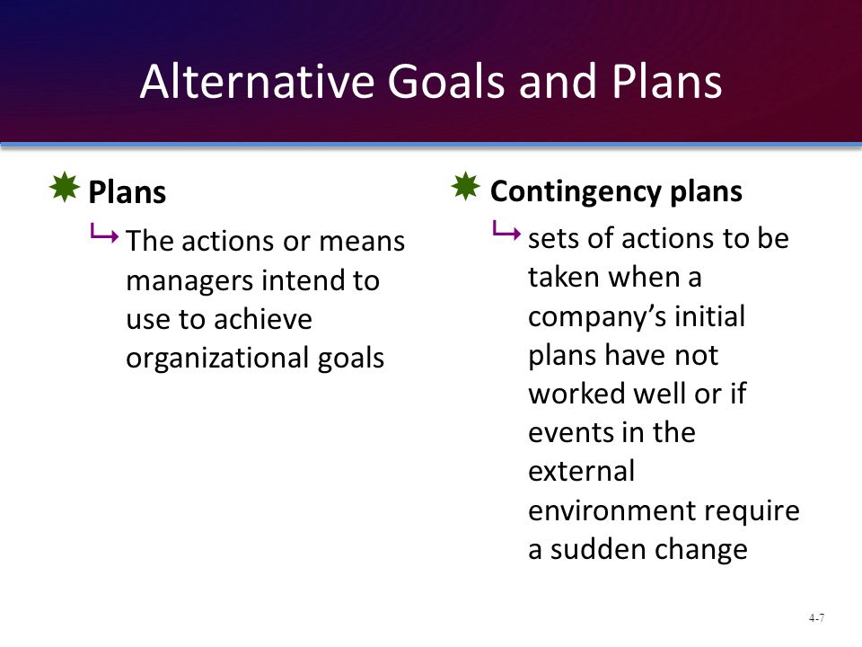 Alternative Goals and Plans