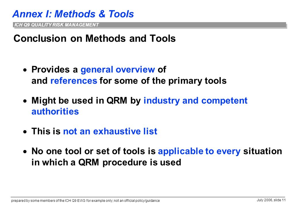Conclusion on Methods and Tools