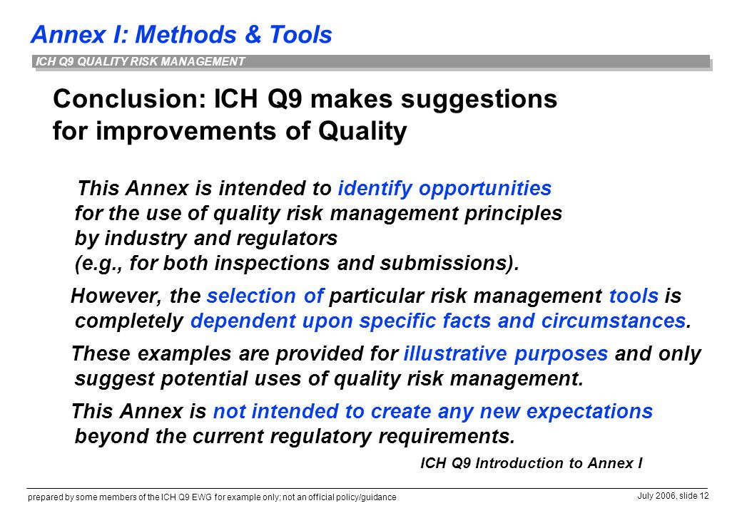 Conclusion: ICH Q9 makes suggestions for improvements of Quality
