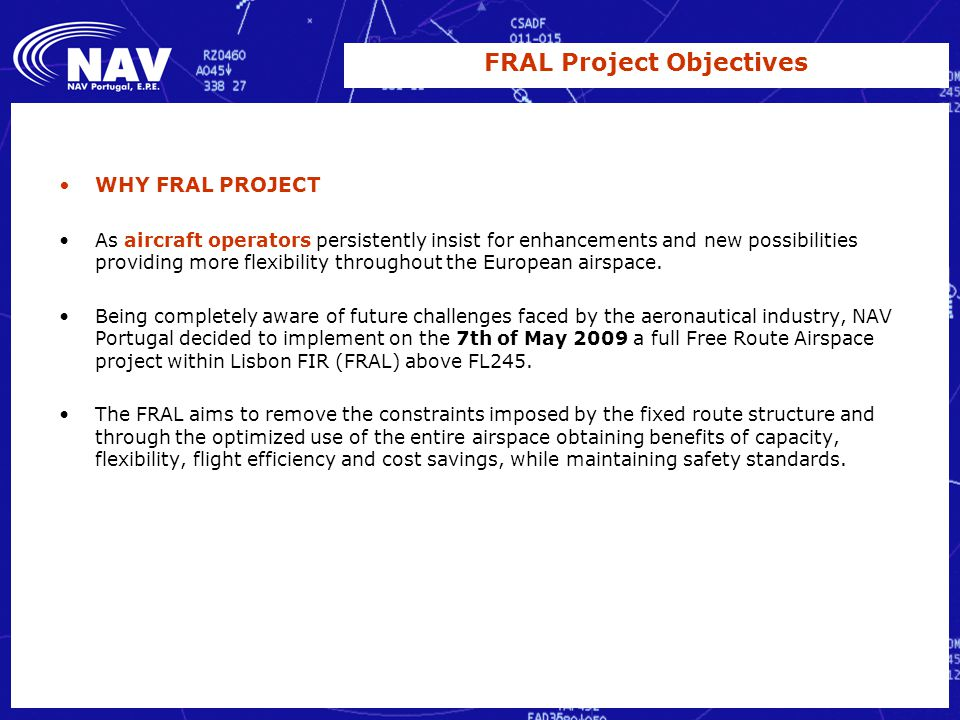 FRAL project Free Route Airspace LISBOA FIR Vanda Cruz MAR