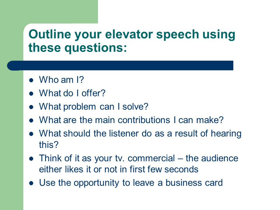 my resume elevator speech A great elevator speech makes a lasting first impression, showcases your professionalism and allows you to position yourself and if you want to network successfully, you need an elevator speech how to prepare an elevator speech, or what's my line.