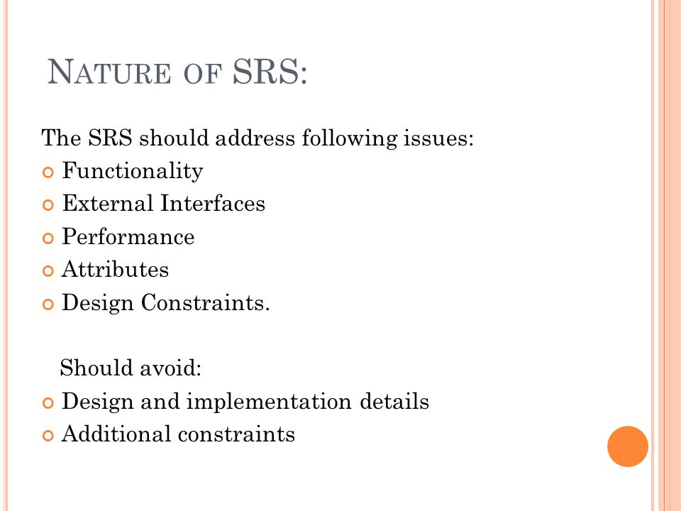 What Is Srs >> Software Requirement Specification Srs Ppt Video Online Download