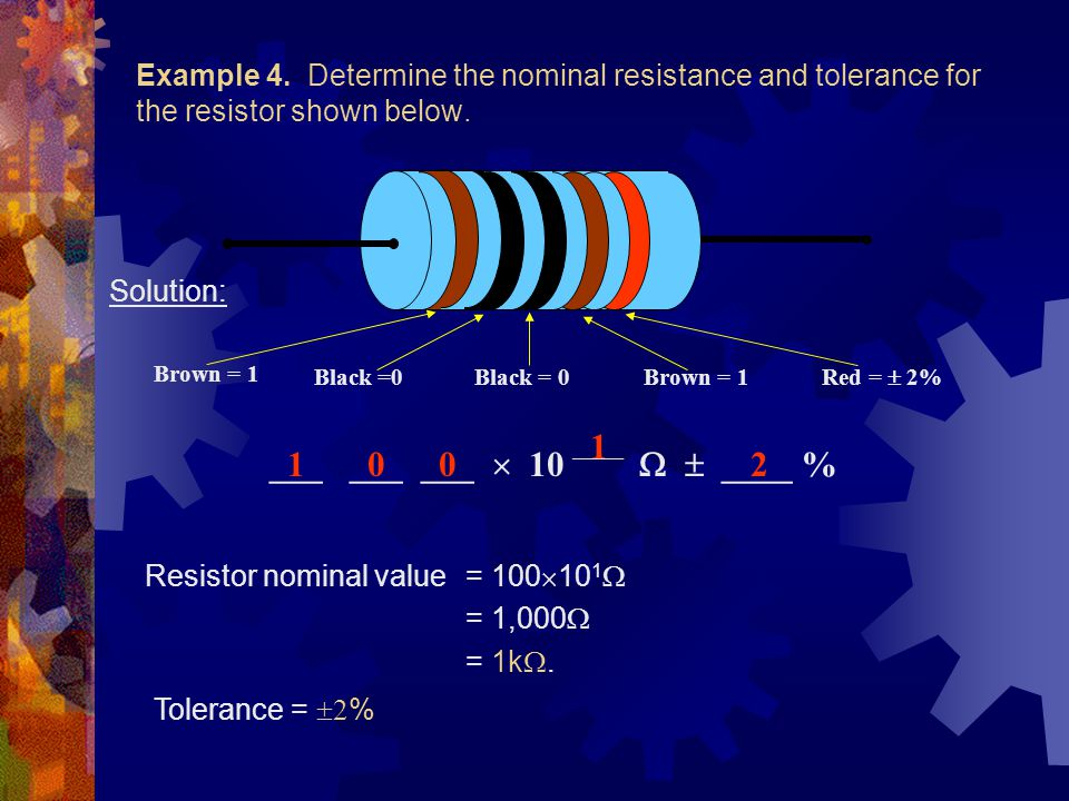 Example 4. Determine the nominal resistance and tolerance for the resistor shown below.
