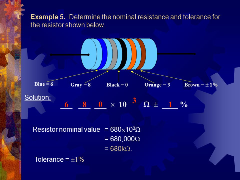 Example 5. Determine the nominal resistance and tolerance for the resistor shown below.