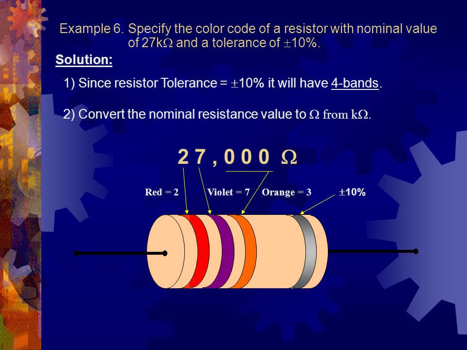 Example 6. Specify the color code of a resistor with nominal value