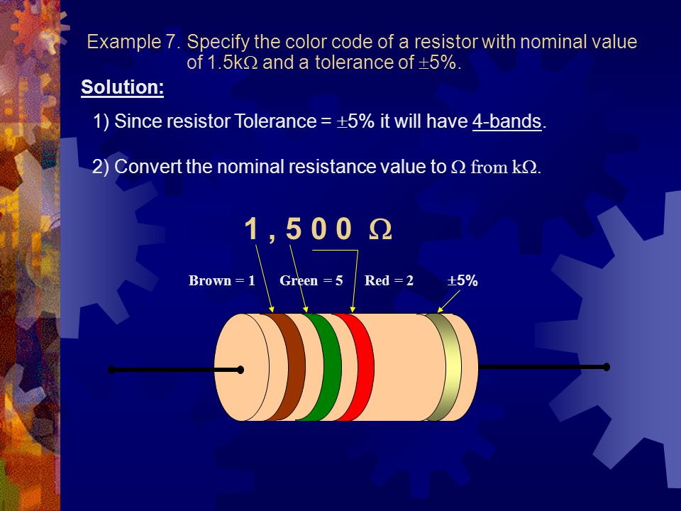 Example 7. Specify the color code of a resistor with nominal value