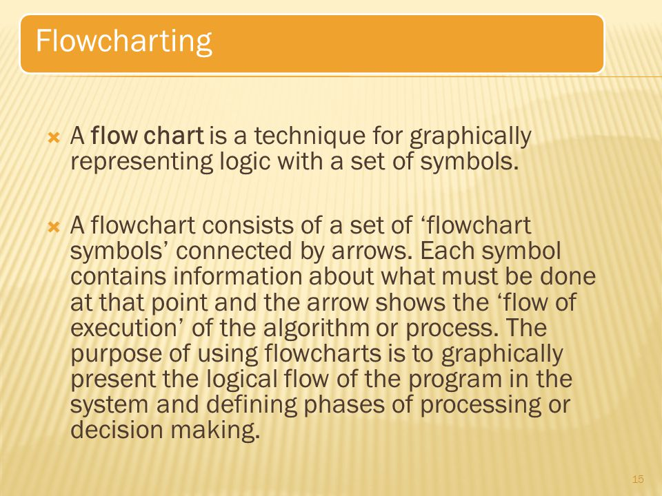 Flowcharting A flow chart is a technique for graphically representing logic with a set of symbols.