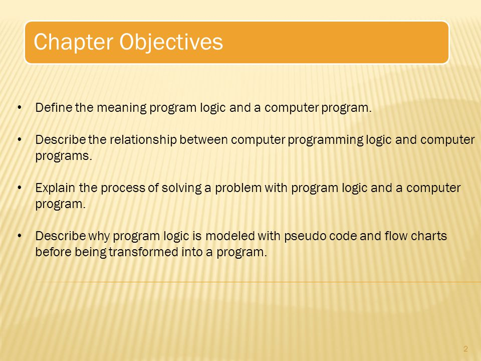 Chapter Objectives Define the meaning program logic and a computer program.