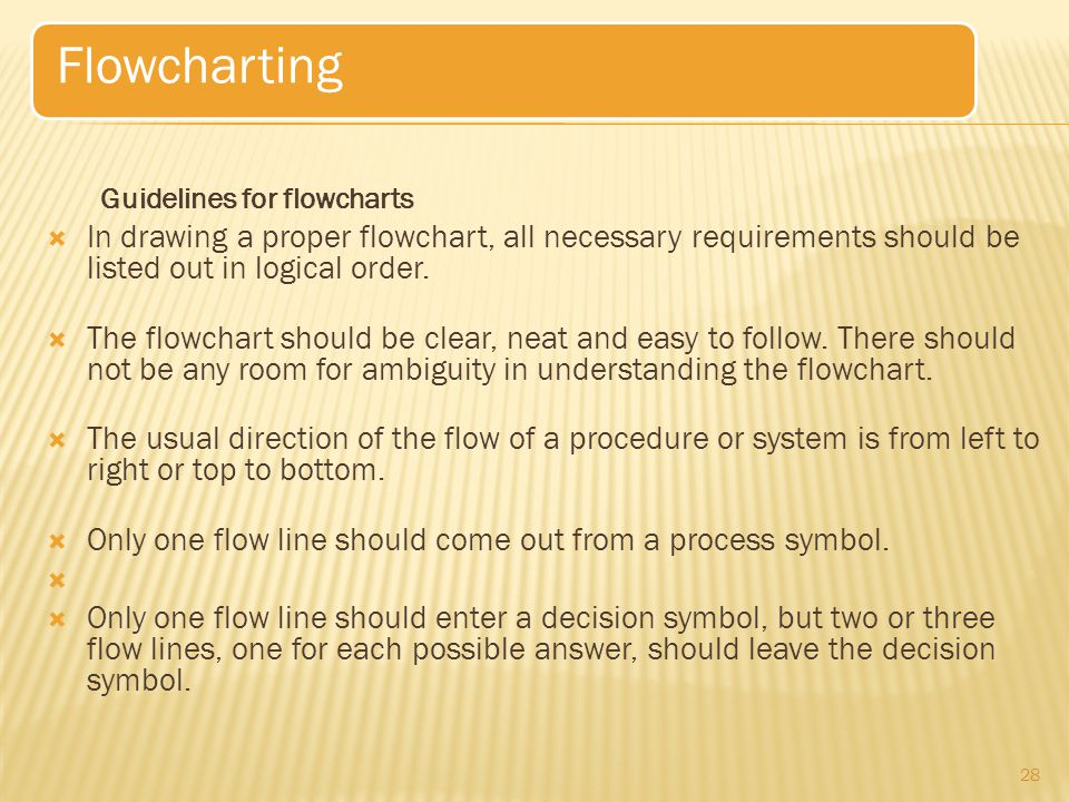 Flowcharting Guidelines for flowcharts. In drawing a proper flowchart, all necessary requirements should be listed out in logical order.