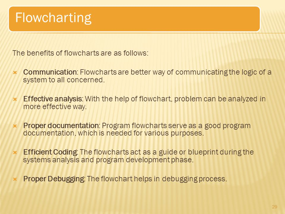 Flowcharting The benefits of flowcharts are as follows: