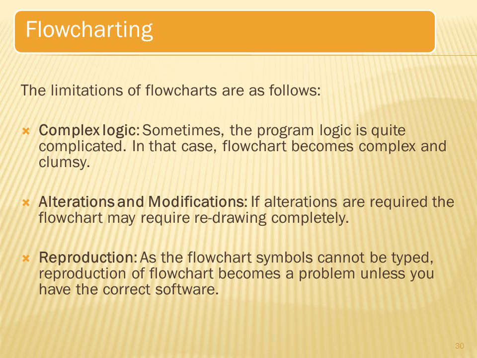 Flowcharting The limitations of flowcharts are as follows: